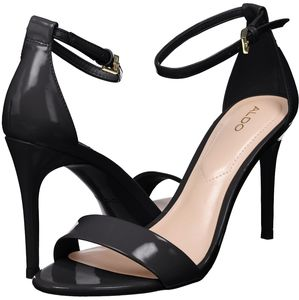 ALDO Cally black patent ankle strap heeled sandals